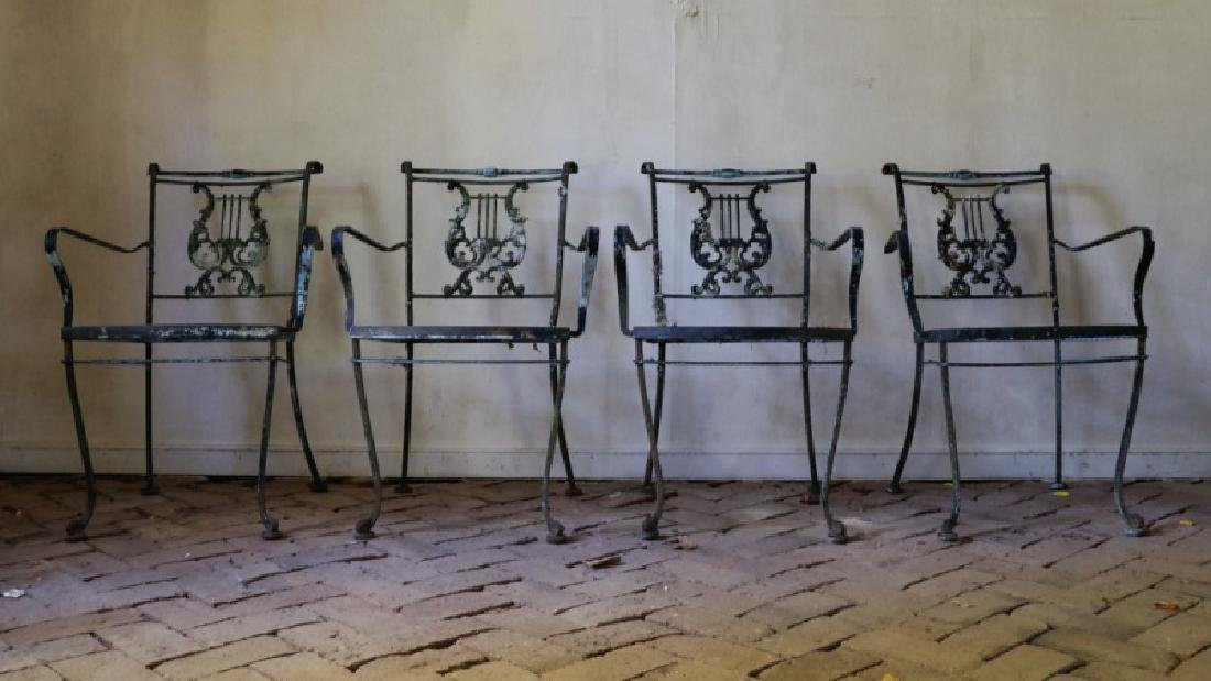 American Mid Century Iron Lyre Back Patio Chairs