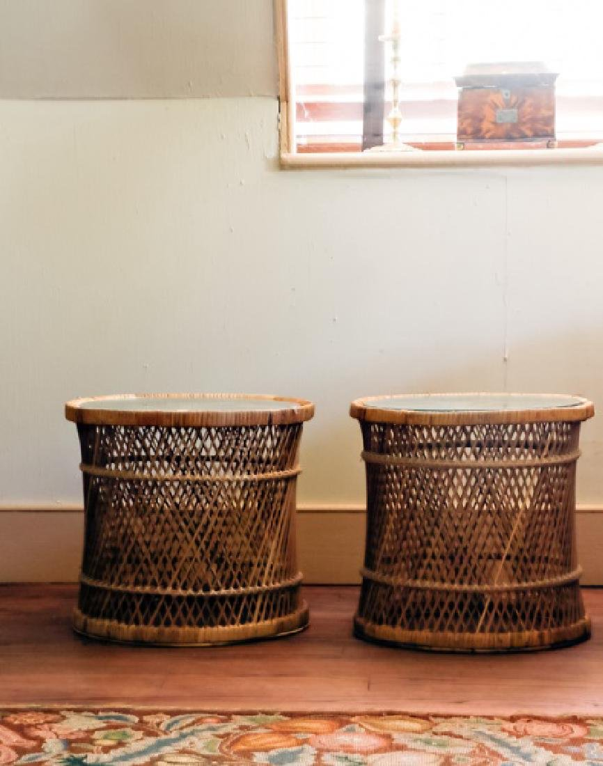 Mid Century Rattan & Glass Side Tables