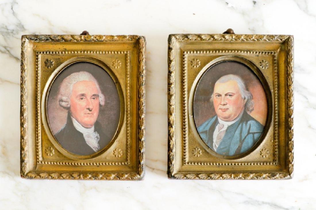 Group of 2 Miniature Portraits of Gentlemen