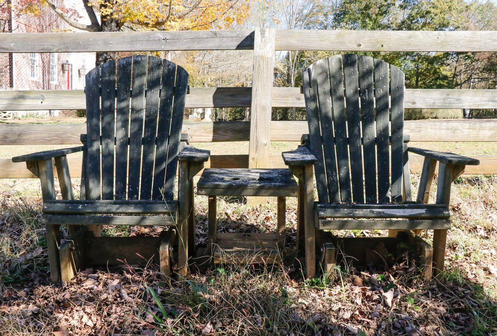 Pair, American Adirondack Style Chairs with Table