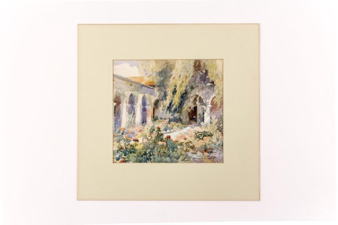 Fridolin Haass Watercolor of a CA Garden Courtyard
