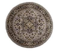 Hand Woven Persian Round Heriz Rug 4 x 4