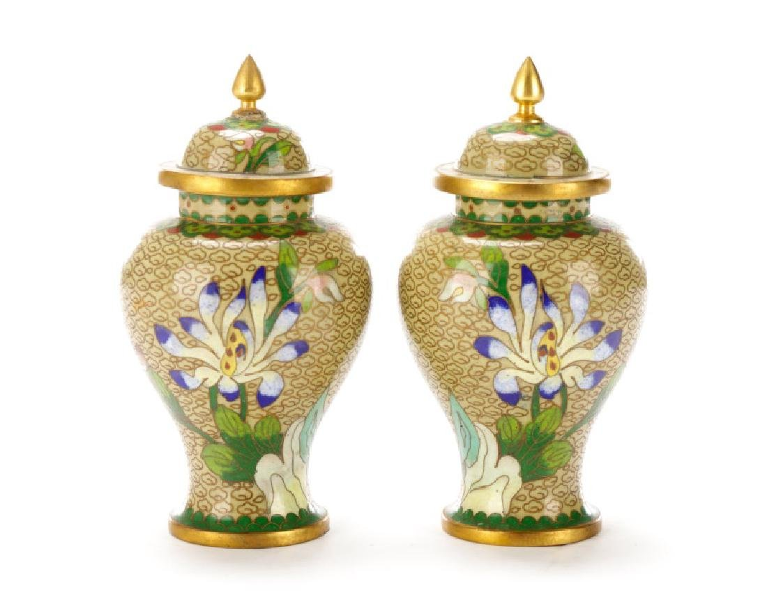 Pair, Small Chinese Lidded Cloisonne Jars