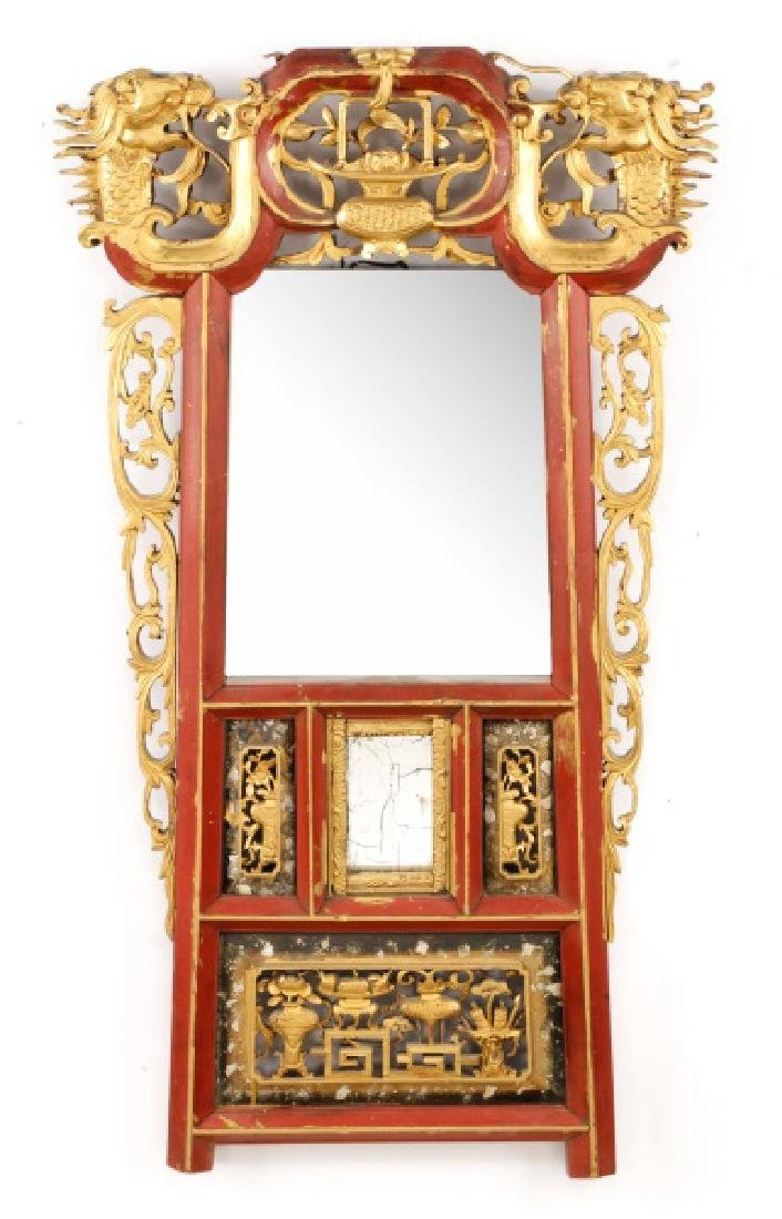 Chinese Red Lacquered & Giltwood Mirror