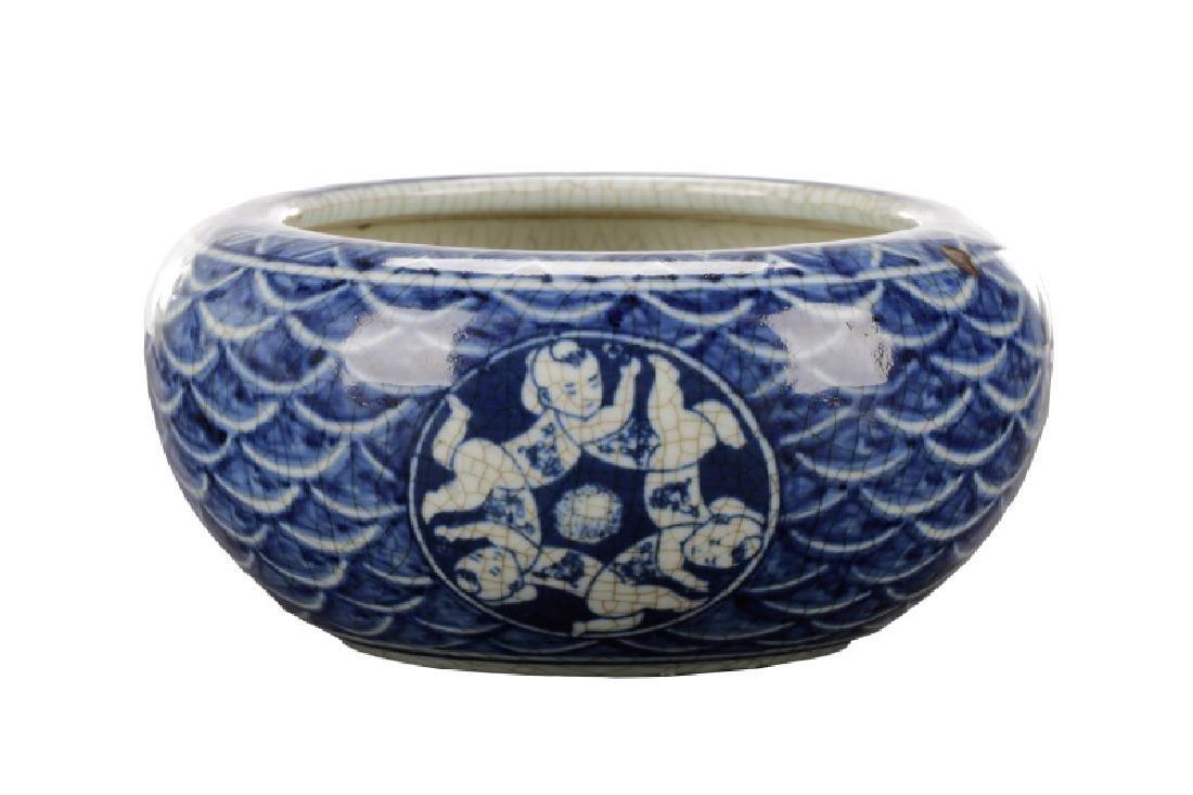 Chinese B/W Crackle Bowl w/ Unusual Baby Motif
