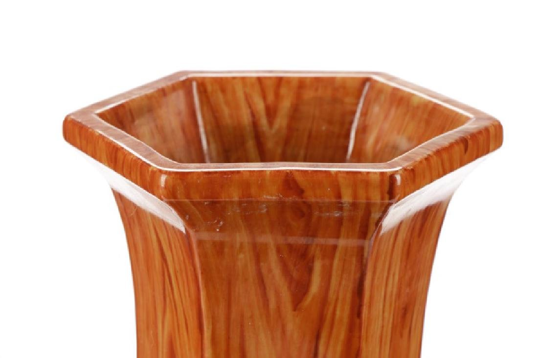 Chinese Ching Dynasty Style Faux Bois Vase - 2