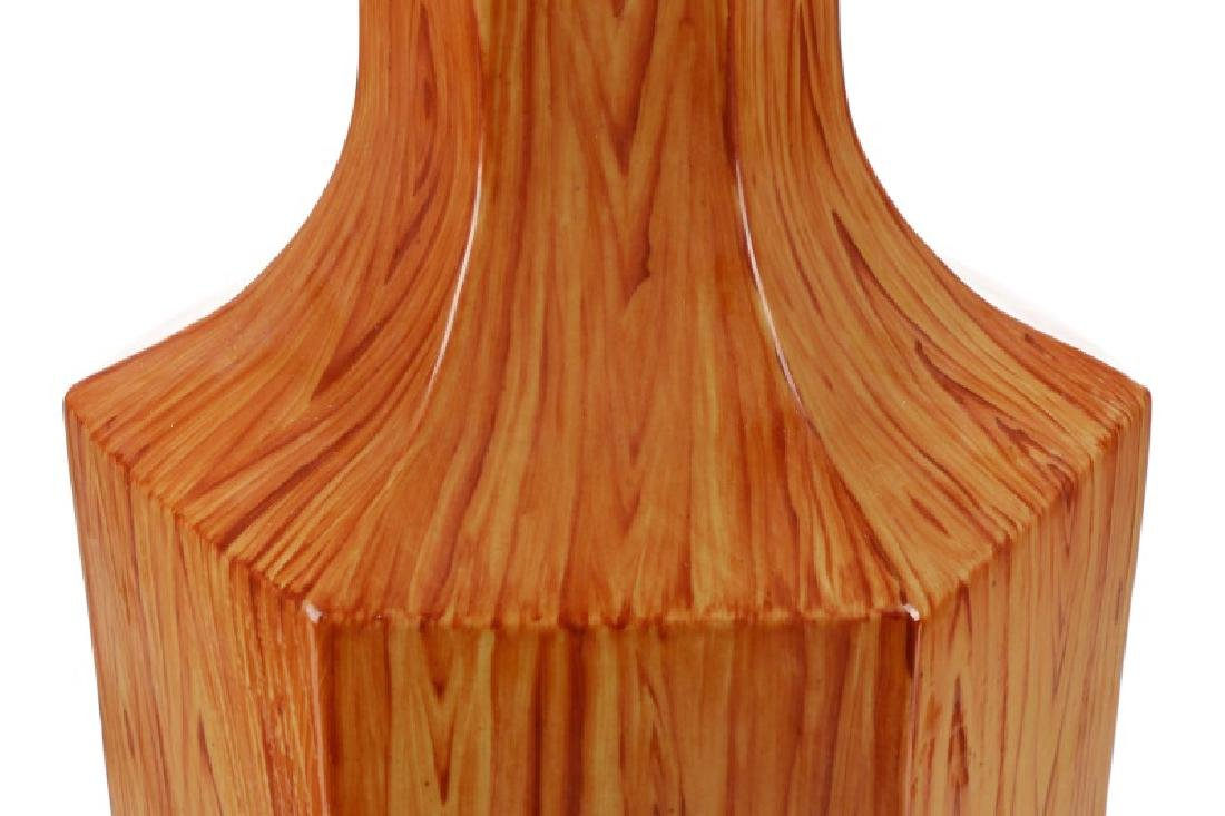Chinese Ching Dynasty Style Faux Bois Vase - 3