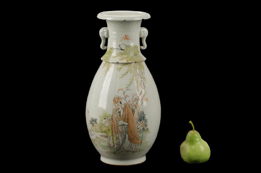 Chinese Hand Painted and Carved Vase - 10