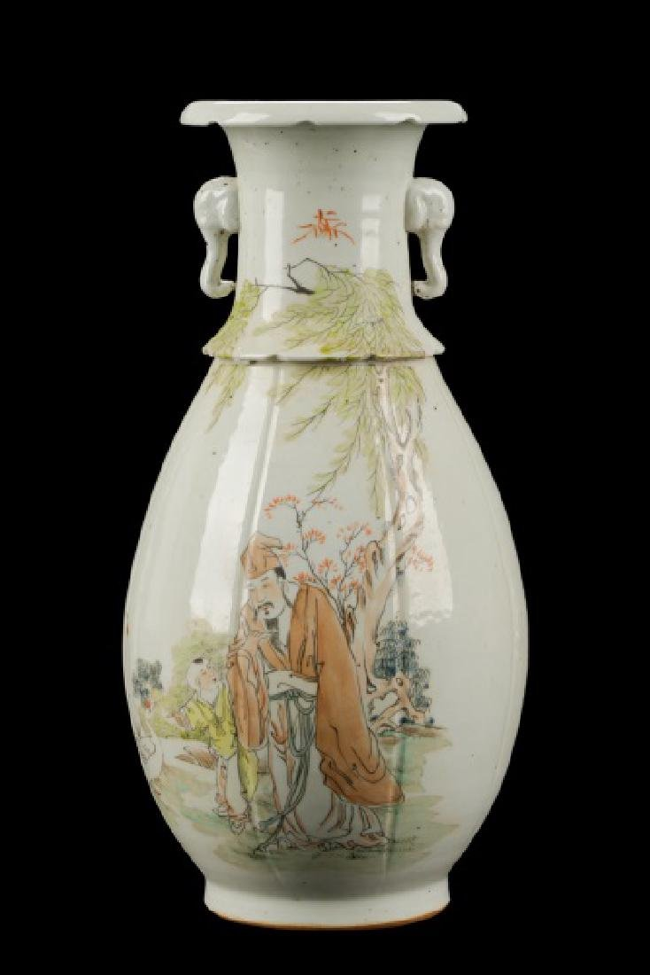 Chinese Hand Painted and Carved Vase