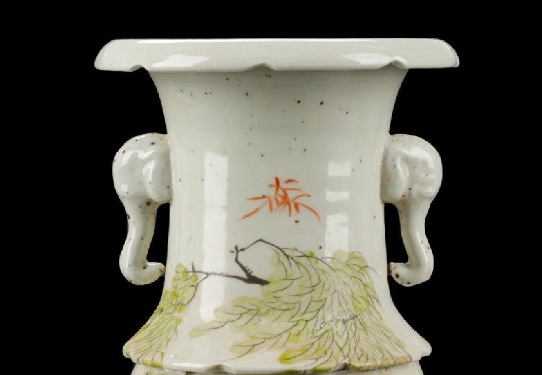 Chinese Hand Painted and Carved Vase - 2