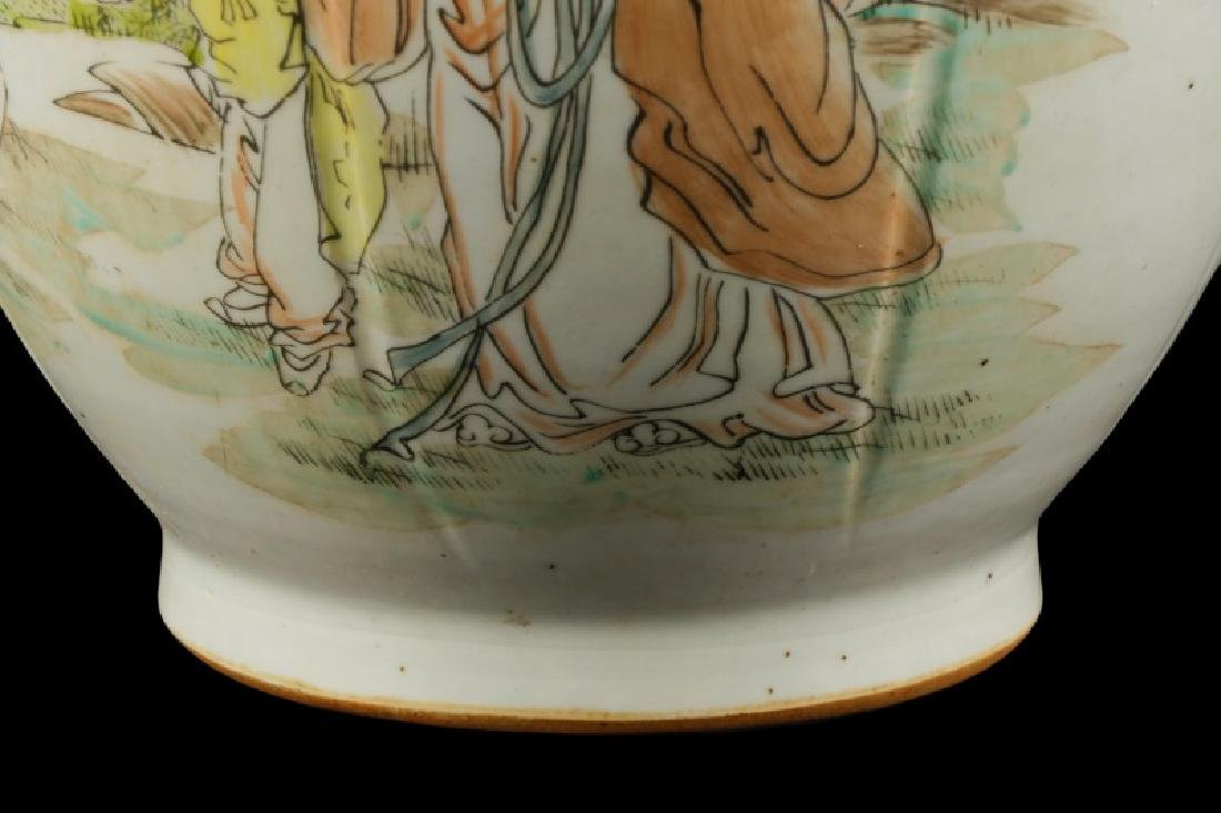 Chinese Hand Painted and Carved Vase - 5