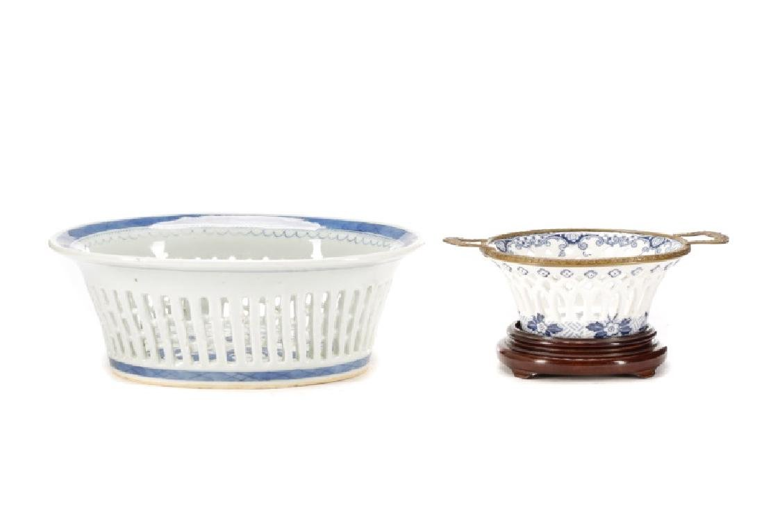 Chinese Porcelain Basket & Royal Vienna Dish
