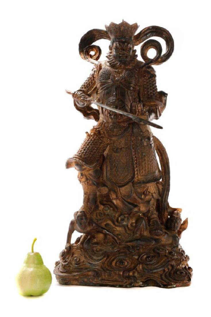 Large Gilt Metal Chinese Figure of a Warrior - 2