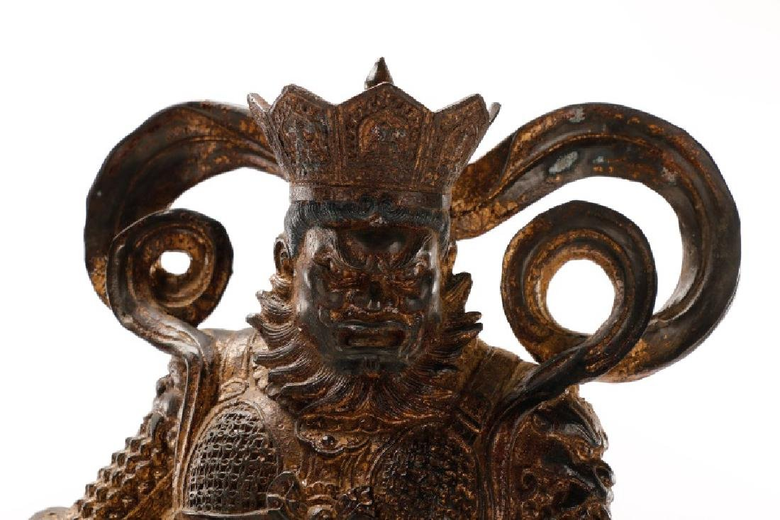 Large Gilt Metal Chinese Figure of a Warrior - 3