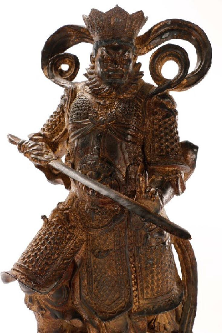 Large Gilt Metal Chinese Figure of a Warrior - 4