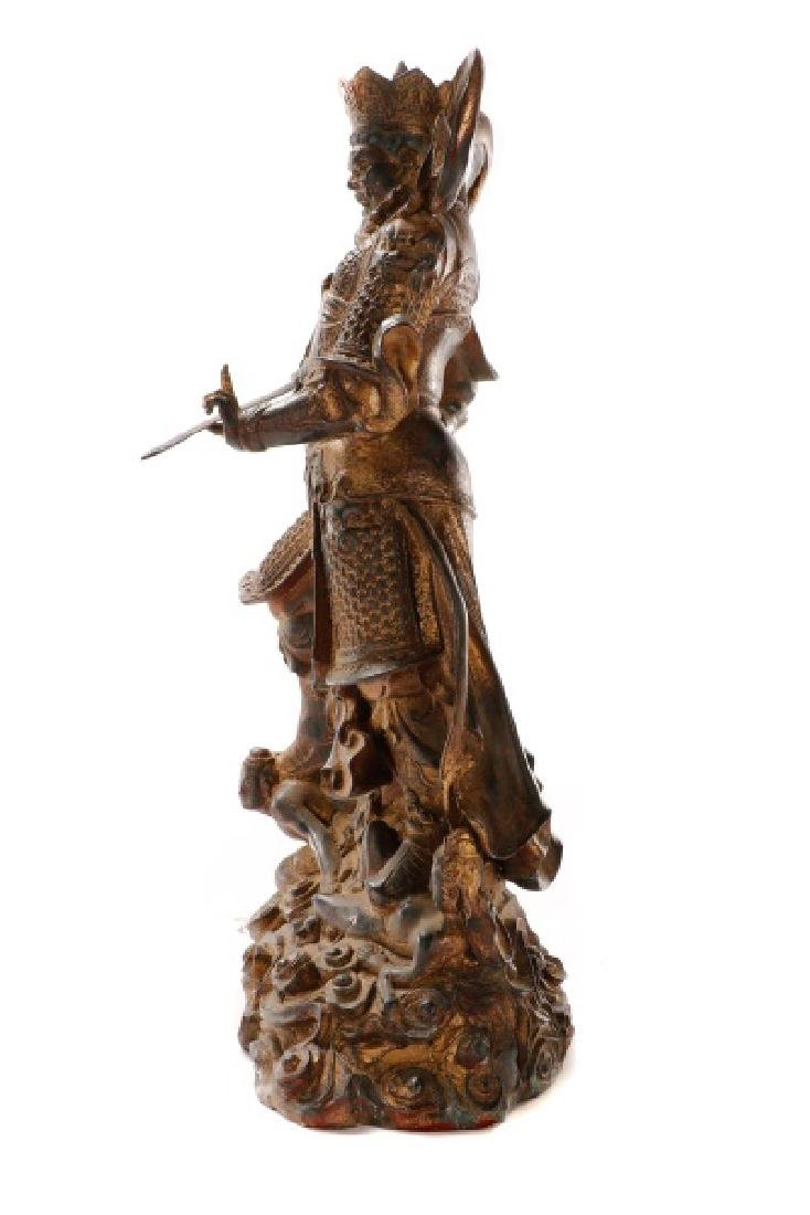 Large Gilt Metal Chinese Figure of a Warrior - 9