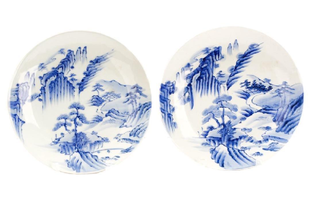 Pair of Blue & White Japanese Landscape Plates