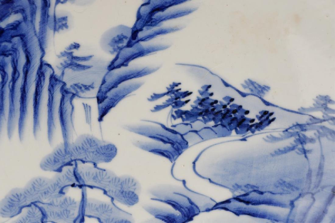 Pair of Blue & White Japanese Landscape Plates - 2
