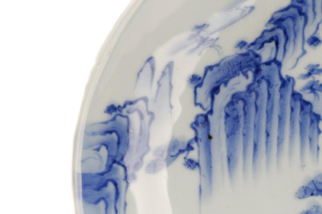 Pair of Blue & White Japanese Landscape Plates - 4