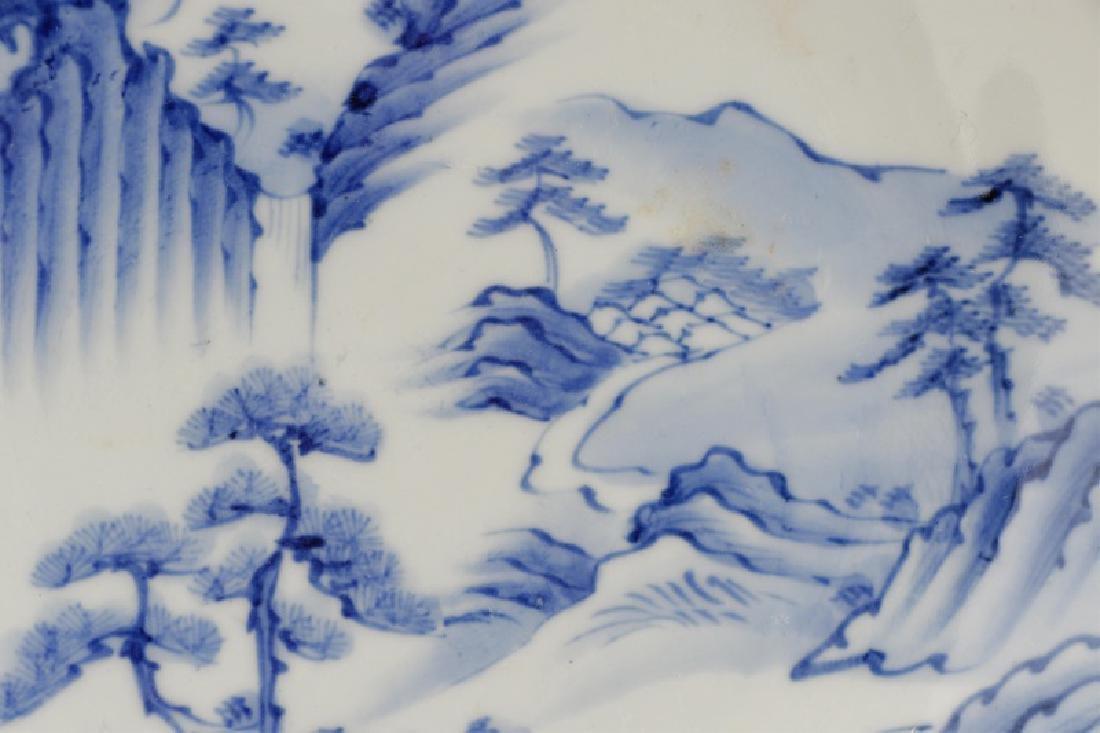 Pair of Blue & White Japanese Landscape Plates - 5