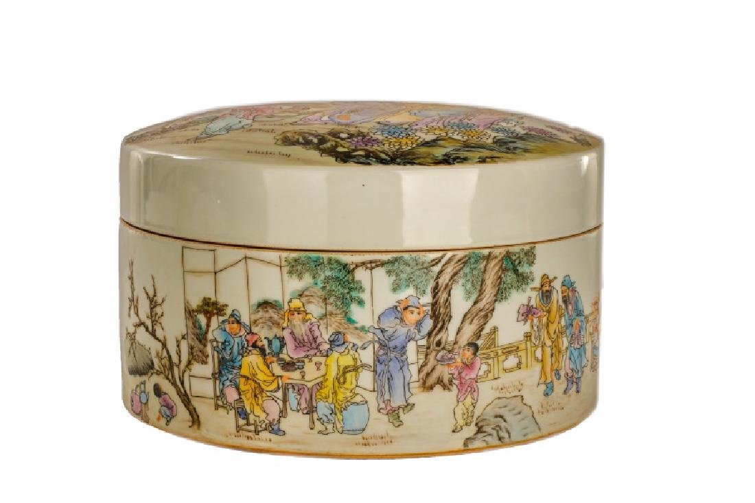 Large Round Chinese Famille Rose Lidded Box