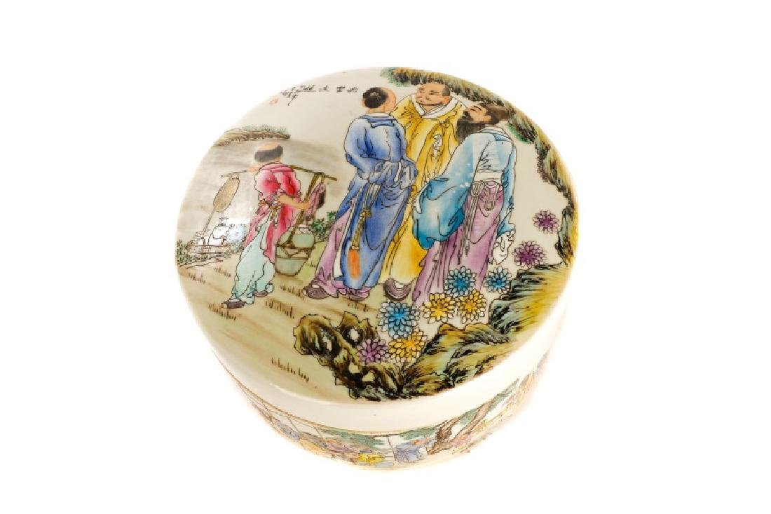 Large Round Chinese Famille Rose Lidded Box - 2