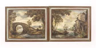 Pair of 20th Century Oil on Canvas Landscapes