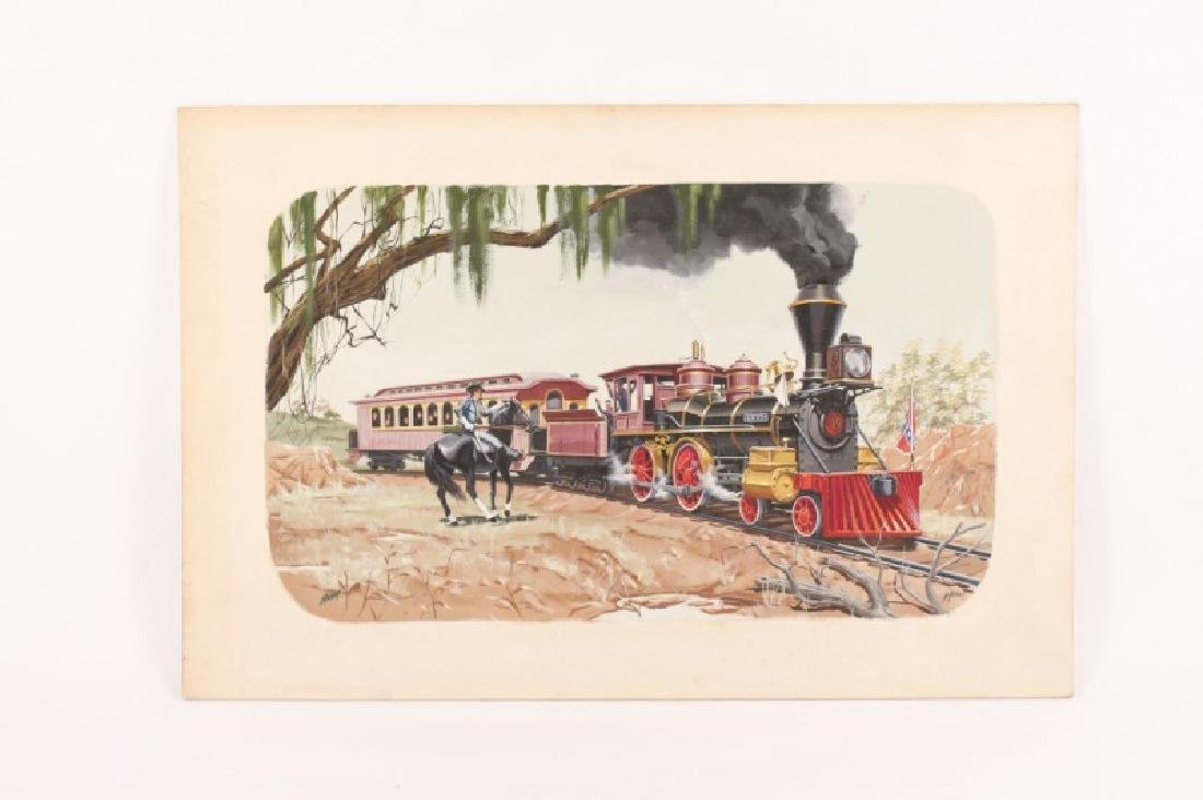 """Painting of Confederate Train """"The Texas"""" & Cowboy"""