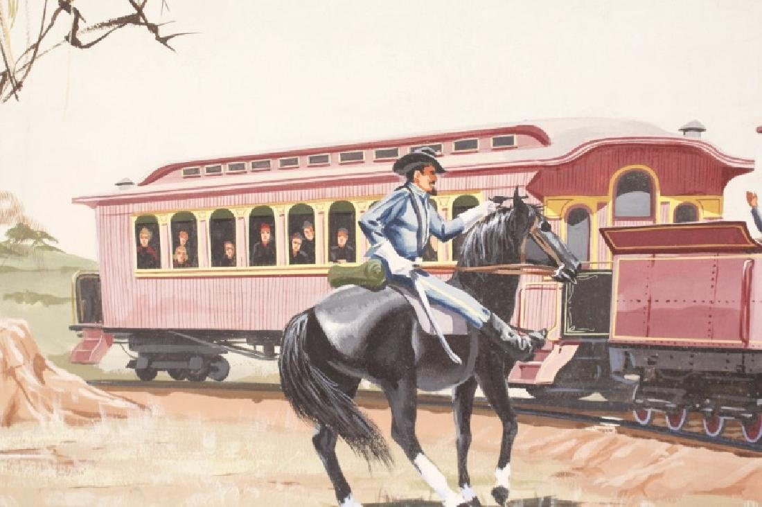 """Painting of Confederate Train """"The Texas"""" & Cowboy - 7"""
