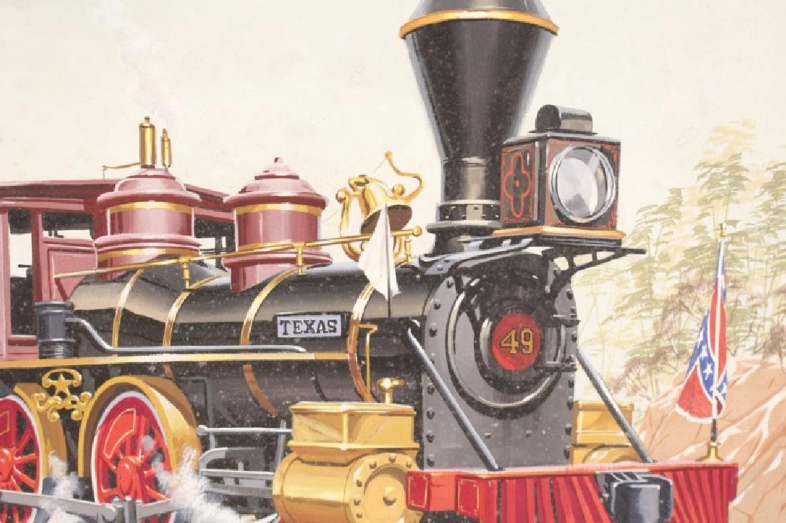 """Painting of Confederate Train """"The Texas"""" & Cowboy - 8"""