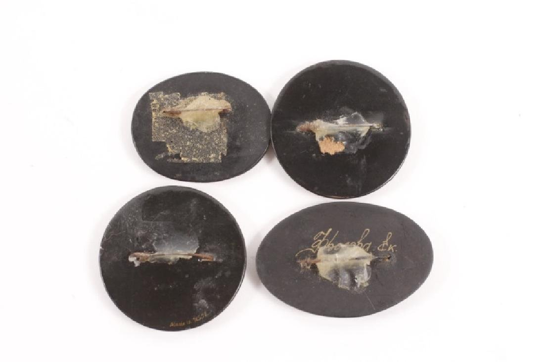 Collection of 4 Russian Lacquer Brooches - 2