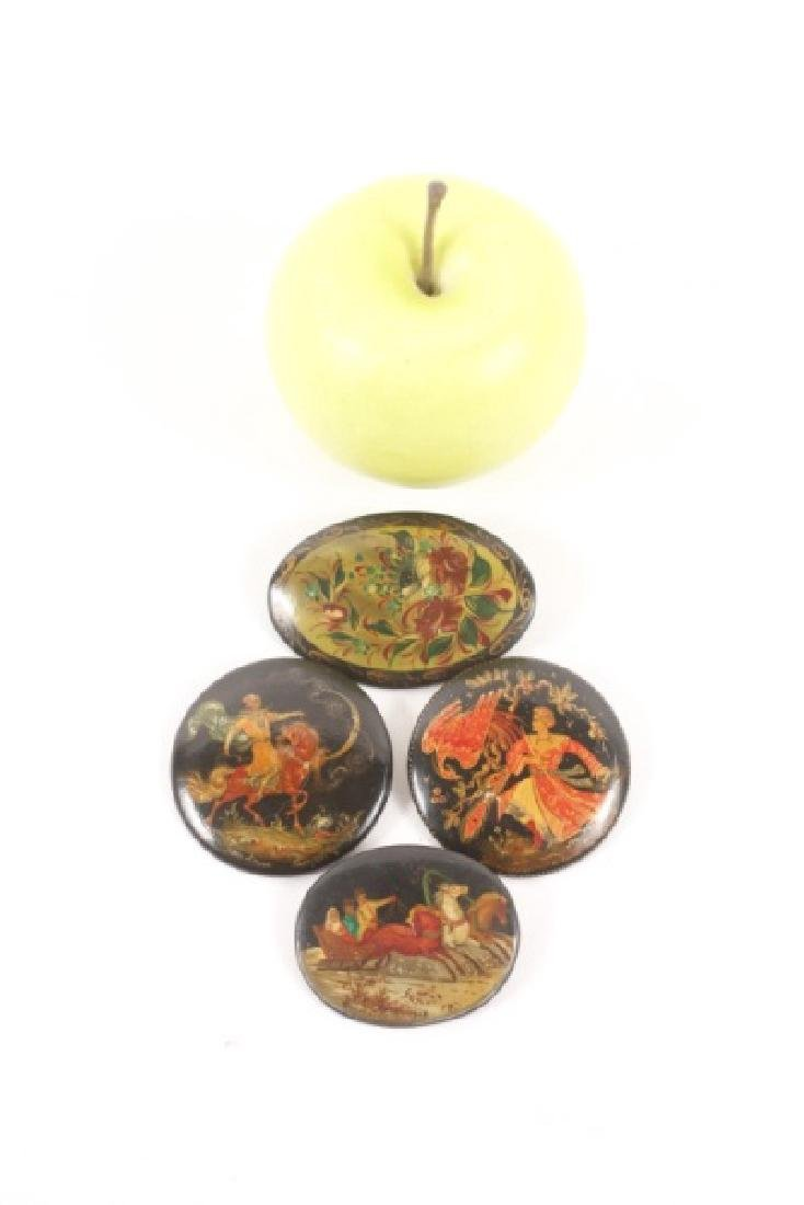 Collection of 4 Russian Lacquer Brooches - 5