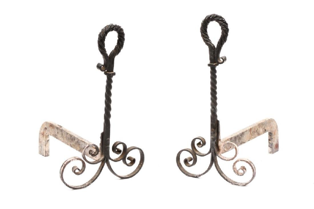 Pair of Wrought Black Iron Andirons, 19th C.