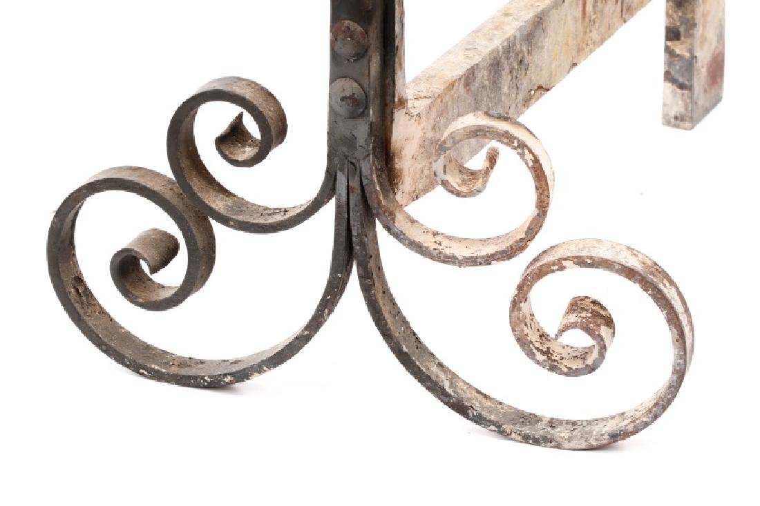 Pair of Wrought Black Iron Andirons, 19th C. - 4