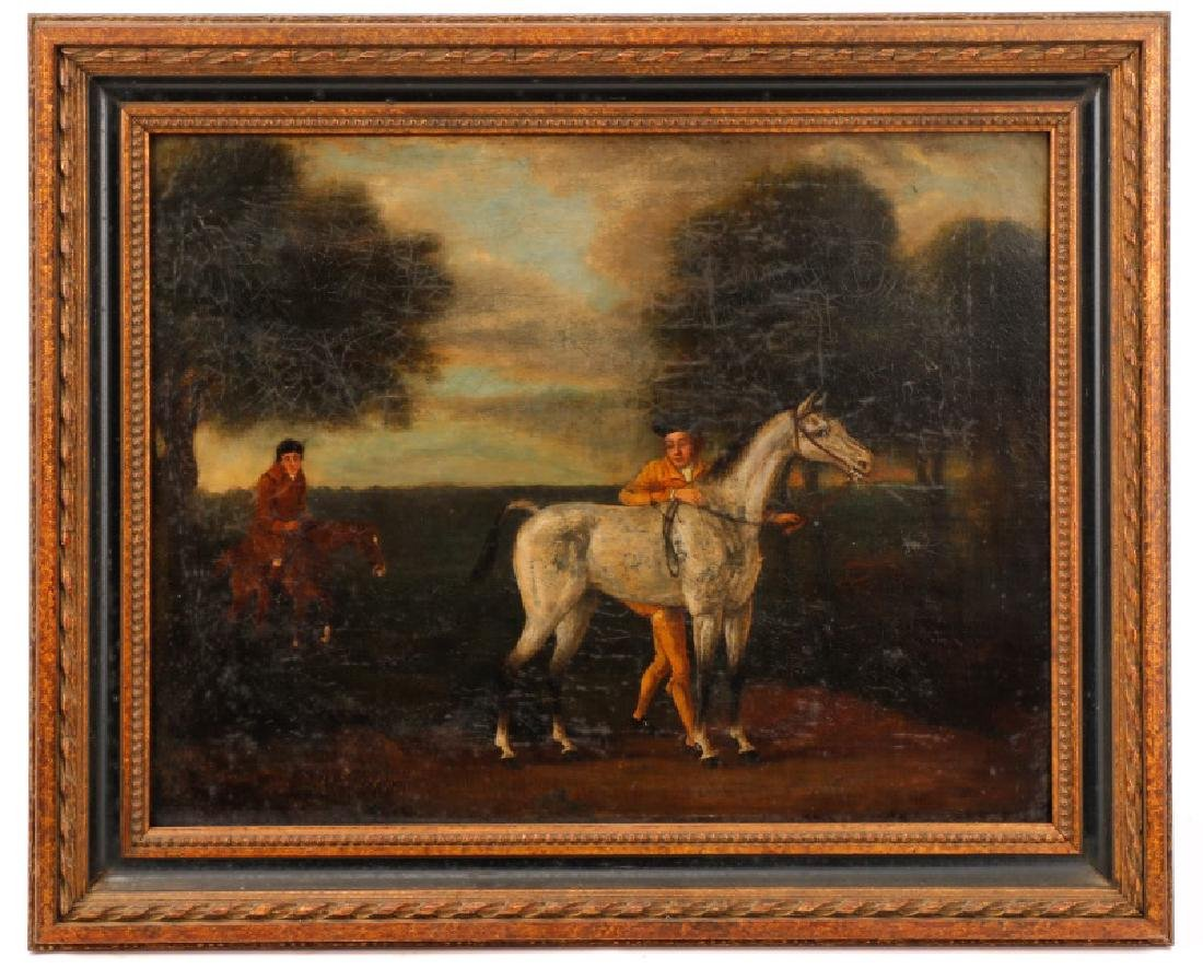 Equestrian Landscape Scene, Oil, 18th C.