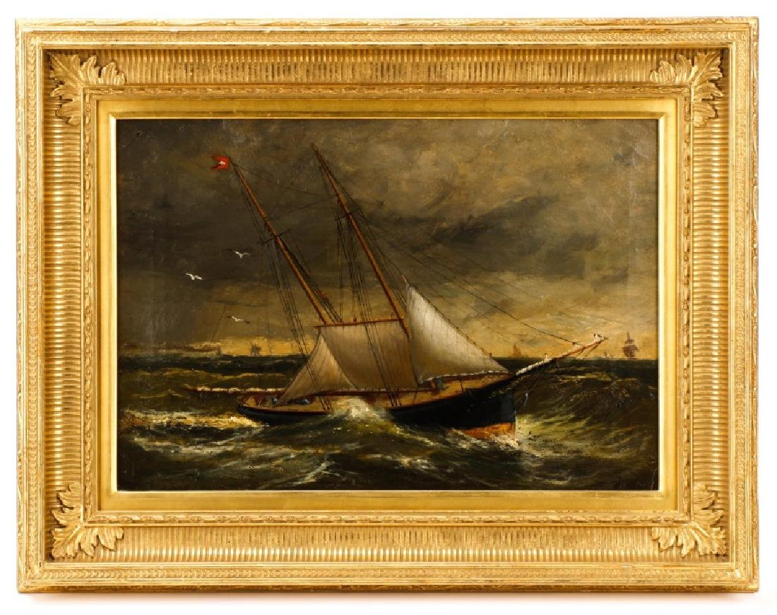 American School, Ships In A Storm, Oil On Canvas