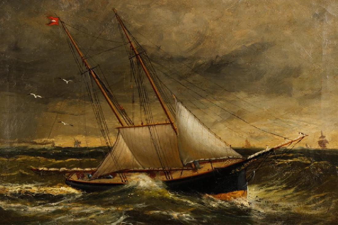 American School, Ships In A Storm, Oil On Canvas - 3
