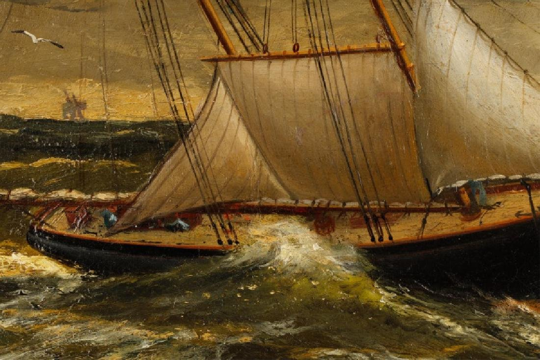 American School, Ships In A Storm, Oil On Canvas - 4