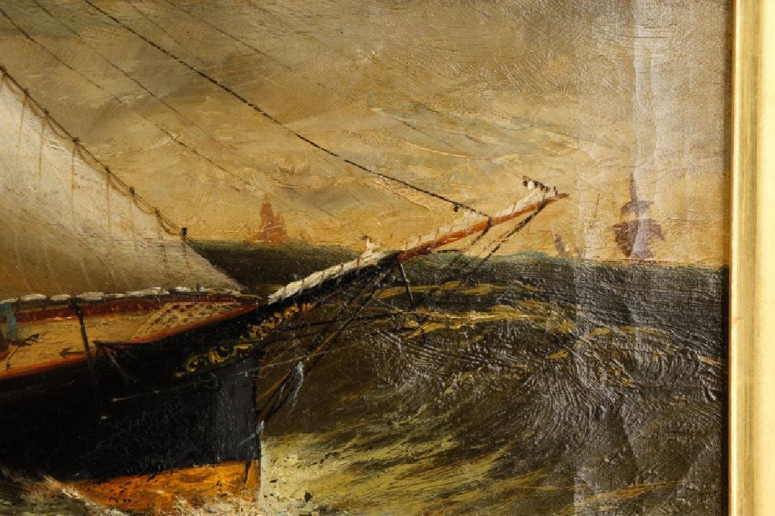 American School, Ships In A Storm, Oil On Canvas - 5