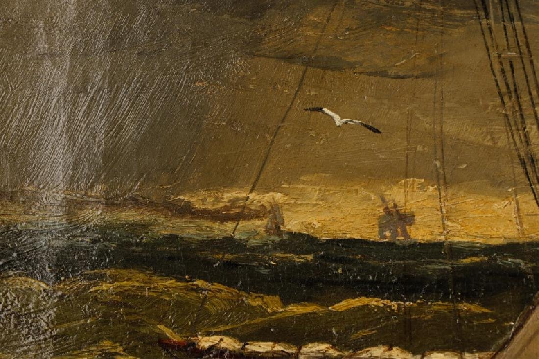 American School, Ships In A Storm, Oil On Canvas - 6