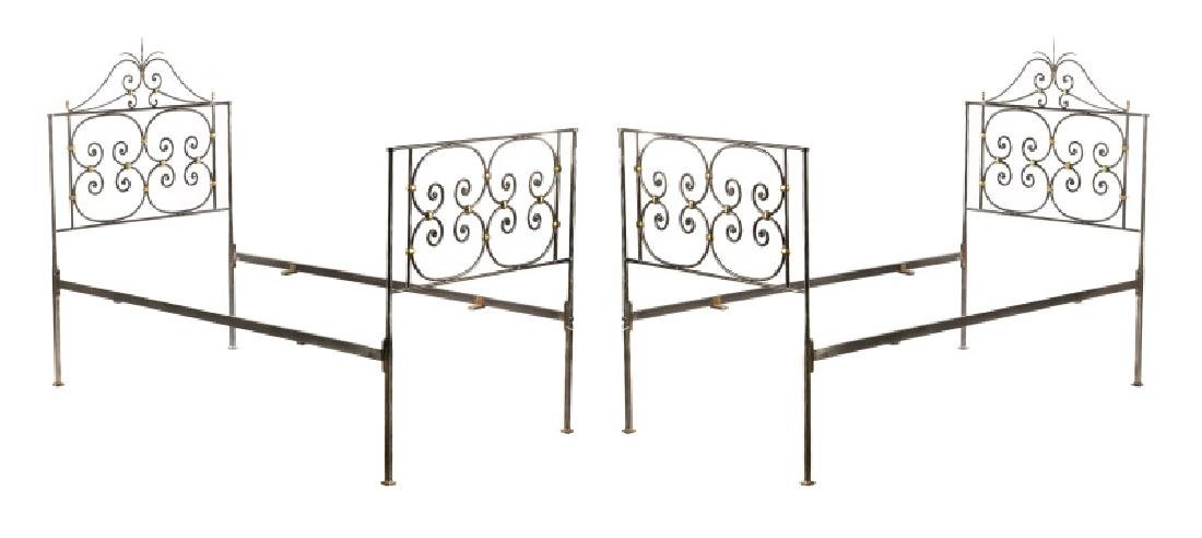 Pair of Neoclassical Style Twin Bed Frames