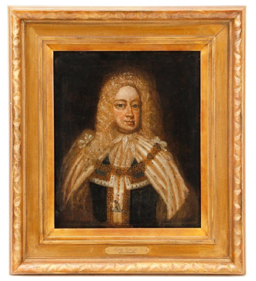 """After Sir Godfrey Kneller, """"King George I"""", Oil"""