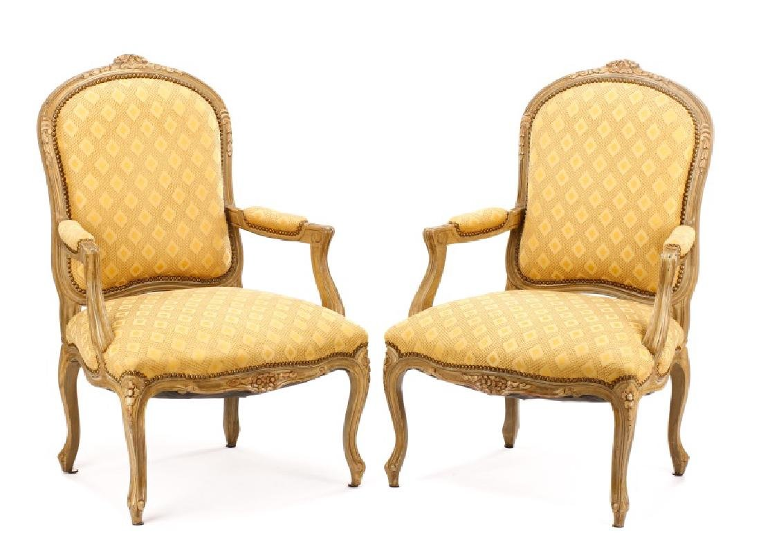 Pair, French Louis XV Style Beige Fauteuils