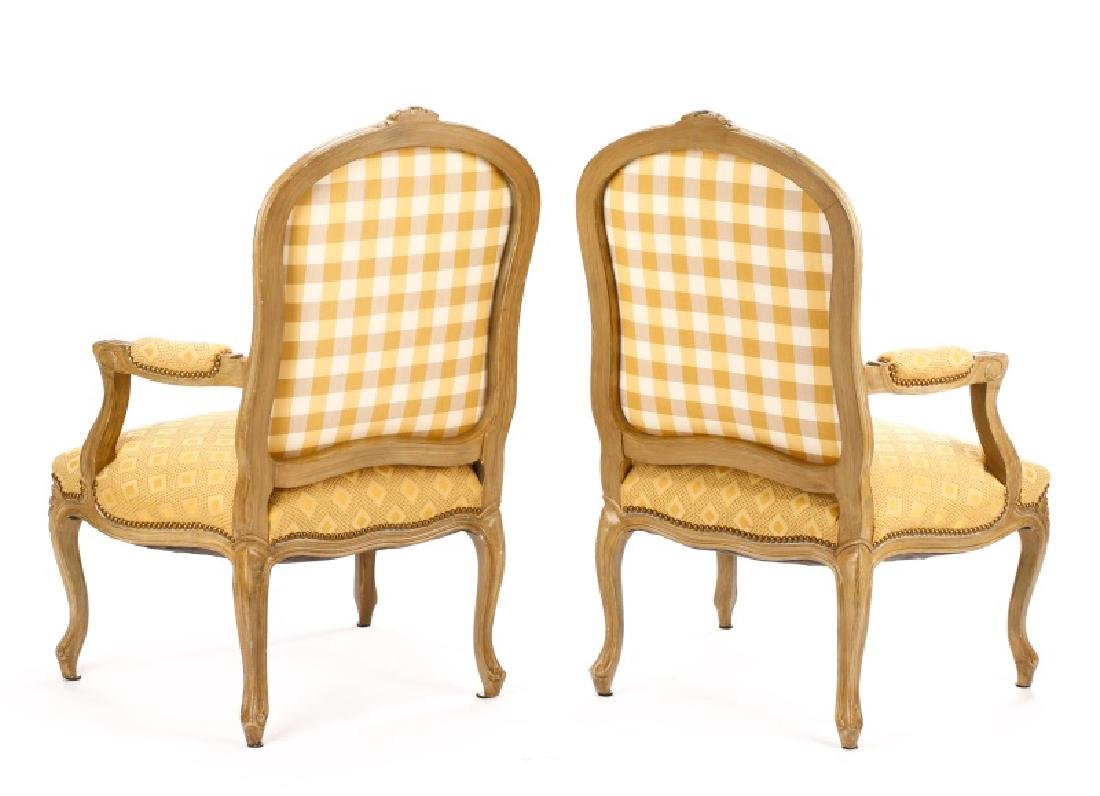 Pair, French Louis XV Style Beige Fauteuils - 7