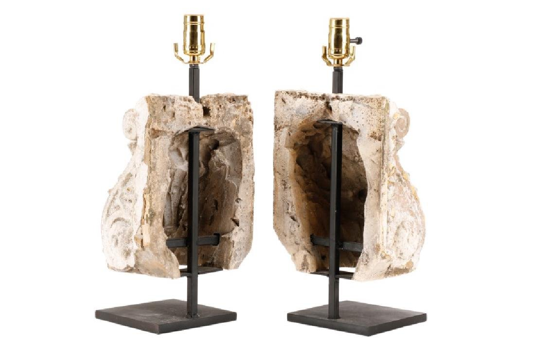 Pair of Cast Plaster Neoclassical Corbel Lamps - 2