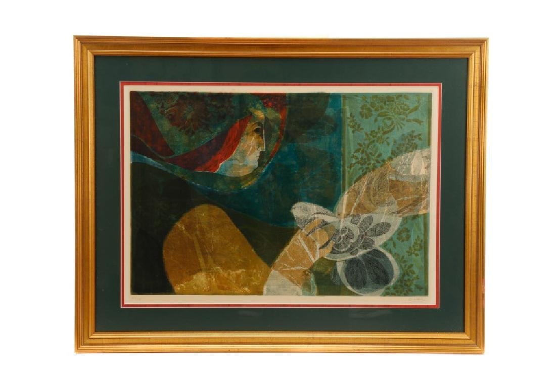 "Sunol Alvar, ""Woman w/ Doves"" Signed Lithograph"