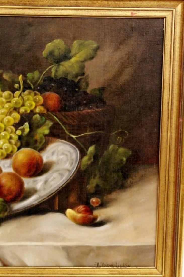Zabehlicky Still Life with Fruit Oil, Signed - 3
