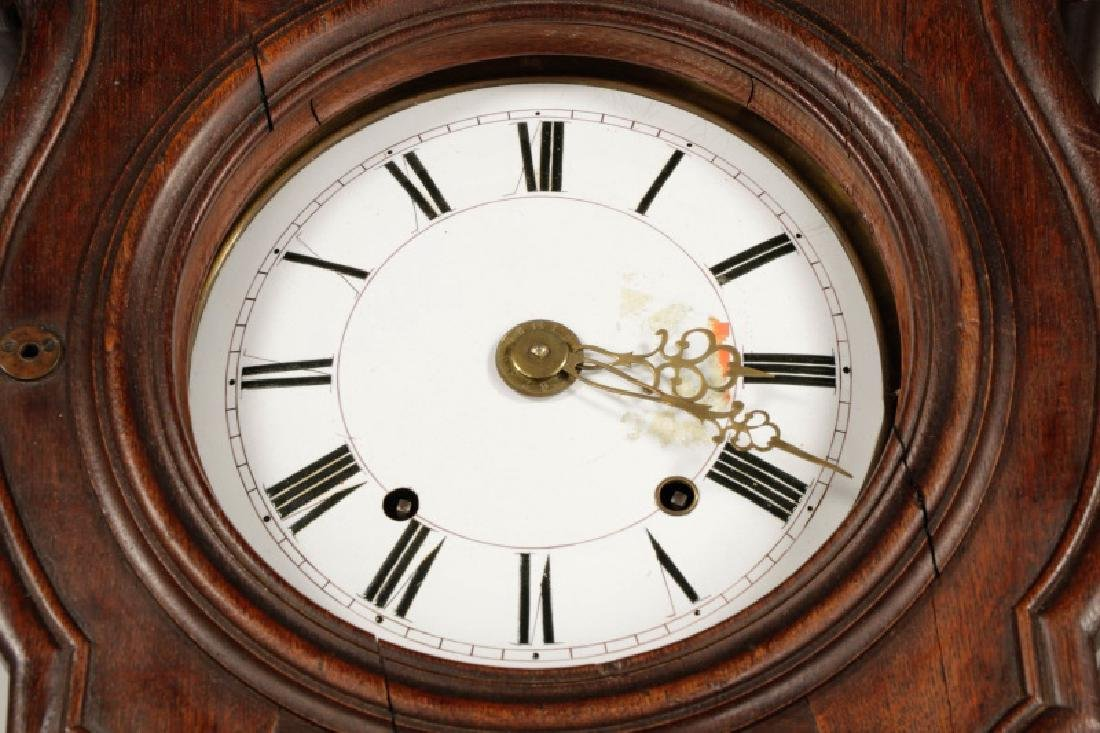 Art Nouveau Style Oak Tall Case Clock - 5