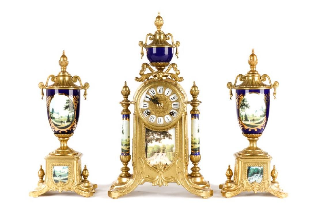3 Pcs Sevres Style Clock Garniture, Franz Hermle