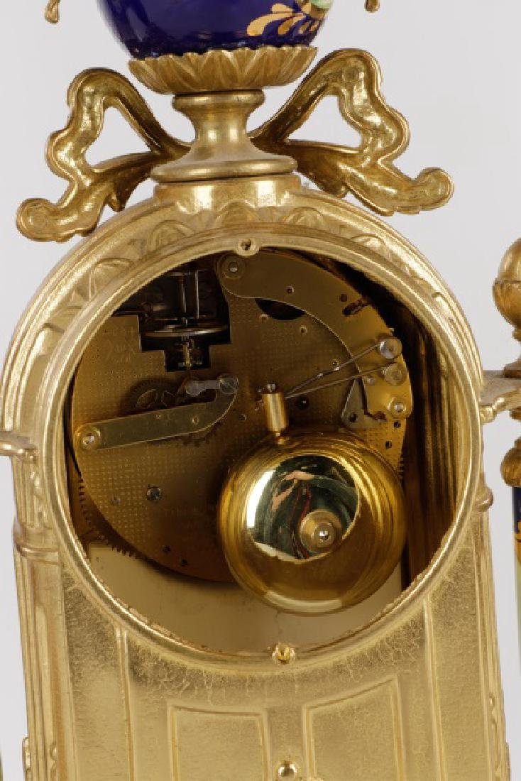 3 Pcs Sevres Style Clock Garniture, Franz Hermle - 6